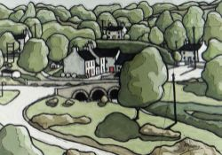 ALAN WILLIAMS acrylic - road bridge and cottages, entitled verso 'Little Mill, Dyfed', signed, 25