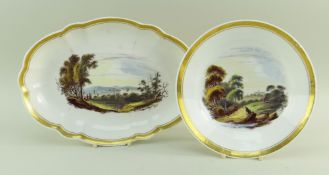 TWO SWANSEA PORCELAIN DISHES DECORATED IN LANDSCAPES BY GEORGE BEDDOWS comprising fluted oval