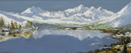 CHARLES WYATT WARREN oil on board - expansive view of lake and snow capped mountains, entitled verso