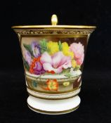A SWANSEA PORCELAIN CABINET CUP footed with flared rim and gryphon handle picked out in gold, finely