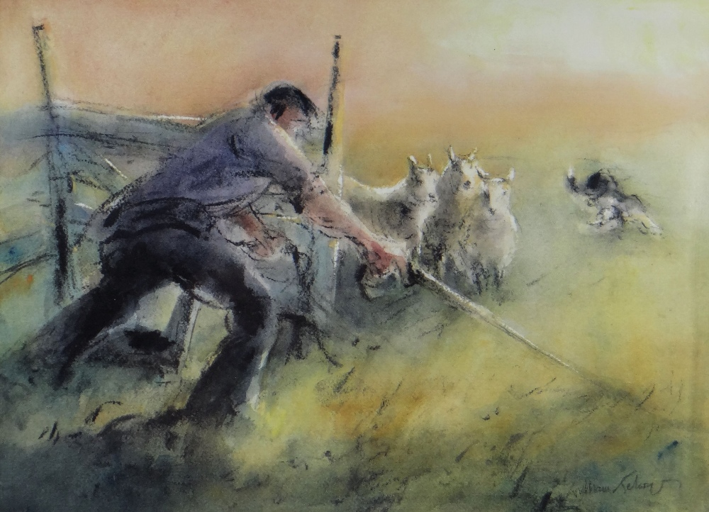WILLIAM SELWYN limited edition (125/300) colour print - shepherd, signed fully in pencil, 34 x