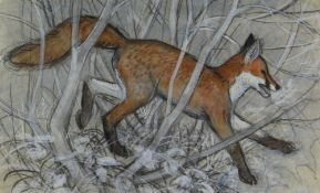 CHARLES FREDERICK TUNNICLIFFE OBE RA preliminary drawing in mixed media - fox in undergrowth, 43 x