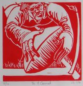 JAMES DONOVAN limited edition (8/10) linocut - rugby player scoring a try, entitled 'Yn y Gornel',