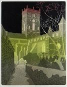 BERNARD GREEN limited edition (5/75) linocut - entitled in pencil 'St. David's, Cathedral at Night',