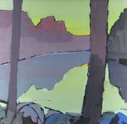 JOHN WRIGHT acrylic on board - Pembrokeshire landscape with River Teifi, near Cilgerran, signed,
