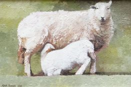 KEITH BOWEN oil on canvas - ewe with feeding lamb, signed and dated 1990, 20 x 29.5cms Provenance: