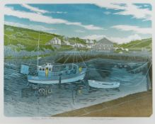 BERNARD GREEN limited edition (7/30) linocut - entitled in pencil 'Porthgain Harbour, Pembs', signed