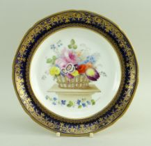 A SMALL SWANSEA PORCELAIN PLATE FOR THE 'LYSAGHT' SERVICE the interior decorated with a large basket