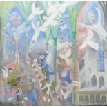 LAURIE WILLIAMS oil on canvas - semi-abstract church interior with animals and figures, ascending