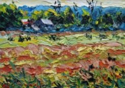 ALAN KNIGHT thick impasto oil on canvas - colourful landscape with farm and building, entitled verso