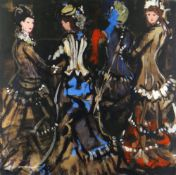 DONALD MCINTYRE mixed media - study of four ladies, 'Belle Demoiselles', signed in full and with