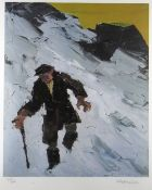 SIR KYFFIN WILLIAMS RA limited edition (78/150) colour print - farmer in snow, signed fully in