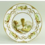 A PORCELAIN PLATE DECORATED & INITIALLED BY WILLIAM WESTON YOUNG of circular form, having five