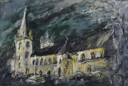 MATT STEELE oil on canvas - view of Llandaff Cathedral from the South, signed, 50 x 73cms