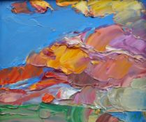 MIKE MONAGHAN oil on board - abstract skyline with cloudy sunshine, signed, 20 x 23cms Provenance: