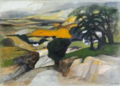 JOHN ELWYN watercolour - expansive landscape with downward sloping road and trees on a bank, signed,