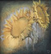 BRYAN JONES acrylic on canvas - two sunflower heads, entitled verso on Attic Gallery label '