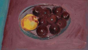GORDON STUART oil on board - still life of fruit in a bowl, 24 x 42cms Provenance: estate of Mair