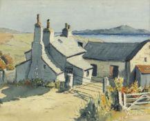 GWILYM PRICHARD early watercolour - whitewashed coastal farm, titled verso in pencil 'Llyn