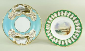 TWO STAFFORDSHIRE PORCELAIN PLATES DECORATED WITH SWANSEA VIEWS comprising Copeland with unusual