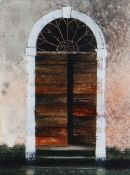NAOMI TYDEMAN watercolour - wooden doorway on Venetian canal, signed, 22 x 17cms Provenance: private