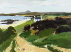 DONALD MCINTYRE acrylic - whitewashed cottage in landscape, entitled verso 'Holyhead Mountain',