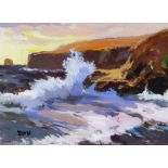 DONALD MCINTYRE acrylic - entitled verso on Attic Gallery Swansea label 'Storm Headland', signed