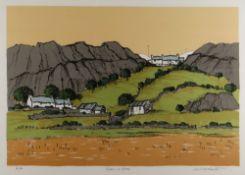 WILF ROBERTS artist's proof screenprint - Ynys Mon landscape, title to margin 'Glan-y-Gors', signed,