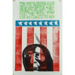 PAUL PETER PIECH four colour linocut poster - relating to the exploitation of the American Sioux,
