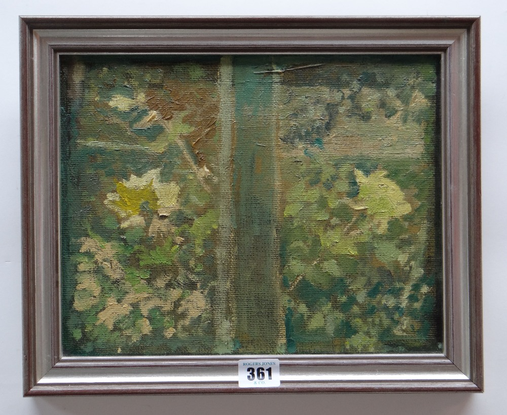 GORDON STUART oil on board - view from window with flowers, unsigned, 23 x 29cms Provenance: - Image 2 of 2