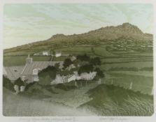 BERNARD GREEN limited edition (29/50) linocut - entitled in pencil 'Evening, Ffynon Faedog, White
