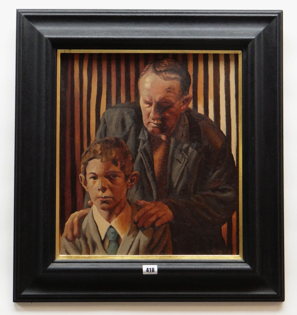 ED POVEY oil on canvas - entitled 'Guarding Your Sources', 44.5 x 39.5cms Provenance: purchased by - Image 2 of 2