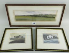 MARTYN VAUGHAN JONES three early watecolours - Welsh landscapes comprising 'Carew Castle, Dyfed',