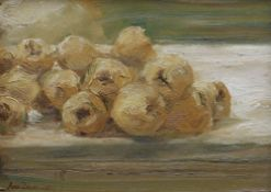IVOR DAVIES oil on board - entitled verso 'Fifteen Quinces XII', signed and dated 1987, 29.5 x 38cms