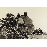 SIR KYFFIN WILLIAMS RA inkwash - house with trees, entitled verso on Thackeray Gallery label '