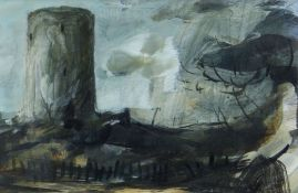 CLIVE HICKS-JENKINS gouache - entitled verso on Attic Gallery Swansea label 'Easter Road', 15 x 22.