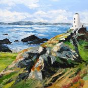 GWYN ROBERTS large oil on canvas - Ynys Mon coastal scene with historic lighthouse, entitled