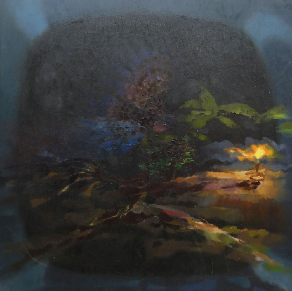 GLYN MORGAN oil on canvas - Greek mythology, entitled verso 'Maenad and Owl in the Forest',