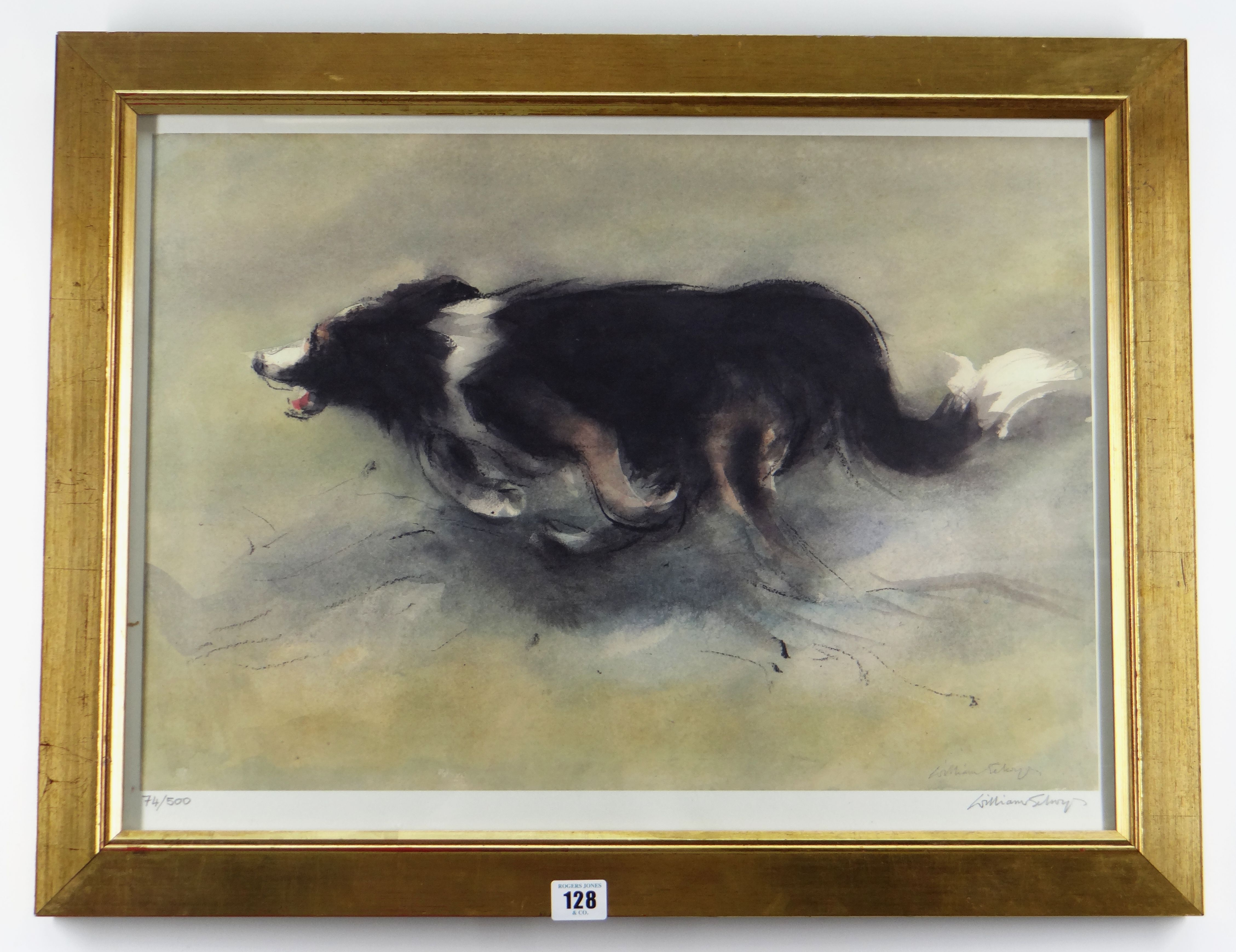 WILLIAM SELWYN limited edition (74/500) colour print - sheep-dog, signed fully in pencil, 42 x - Image 2 of 2