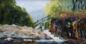 J GLYN ROBERTS oil on board - Eryri river with footbridge, signed, 29 x 54cms Provenance: private