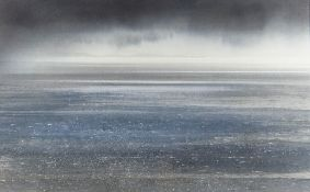 NAOMI TYDEMAN watercolour - view over water towards the Gower peninsula, 36 x 58.5cms Provenance: