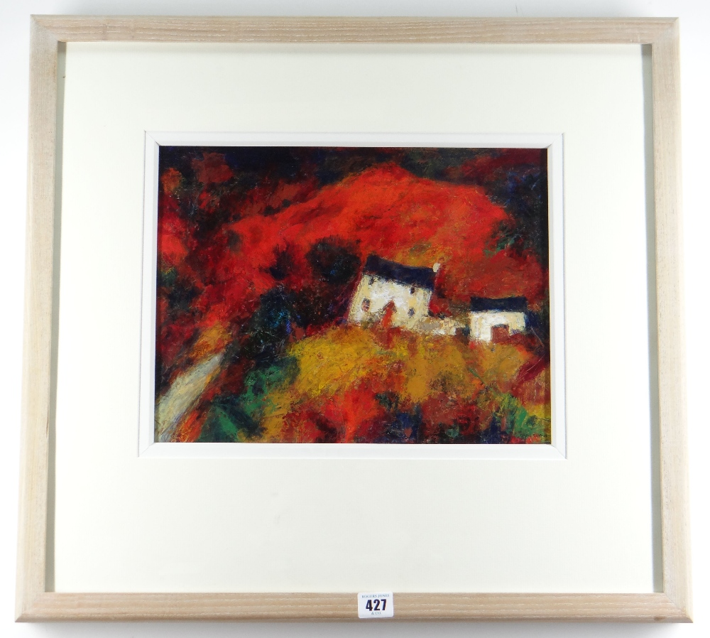 CHRIS GRIFFIN oil - whitewashed farmhouse and buildings on mountainside, entitled verso 'Y Fferm', - Image 2 of 2