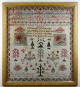 1866 CONWY VALLEY WELSH WOOL SAMPLER with alphabetical and religious content, by thirteen year old