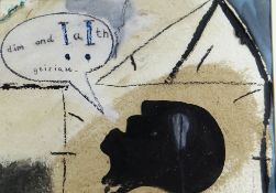 IWAN BALA mixed media on paper - head with speech bubble, entitled 'Dim Ond Geiriau' (Nothing but