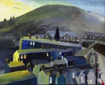 NICK HOLLY oil on canvas - village terraces at dusk, with two red shirted children and two others