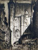 SIR FRANK BRANGWYN RA drypoint etching - entitled 'Fish Market Bruges', signed in pencil, 42 x 32cms