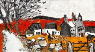 GWILYM PRICHARD early oil on board - farmhouse and figure in landscape, entitled verso 'Anglesey