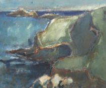 WILL ROBERTS oil on canvas - entitled verso 'Gower Coastline, 1983', signed verso, 50 x 59cms
