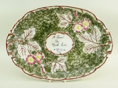 A RARE LLANELLY POTTERY BREAD PLATE WITH DEDICATION having a brown twig border extending with leaves