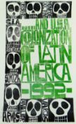 PAUL PETER PIECH two colour linocut poster - relating to the USA colonisation of Latin America,